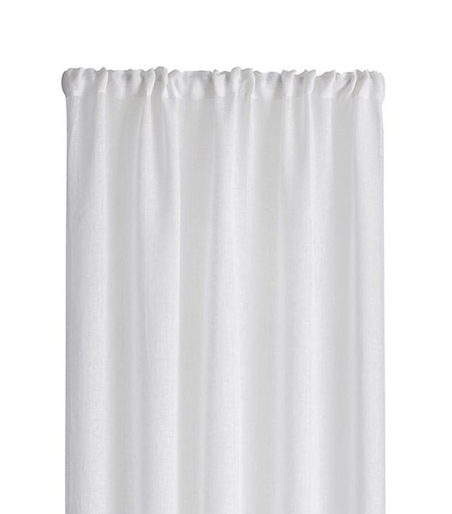 Crate and Barrel White Linen Sheer Curtain Panel