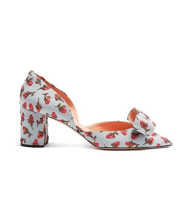 Floral brocade point-toe pumps