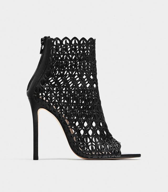 Zara Wraparound High-Heel Sandals With Die-Cut Detailing