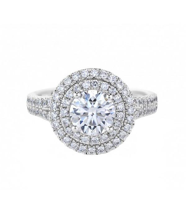 De Beers Aura Double Halo Solitaire Ring