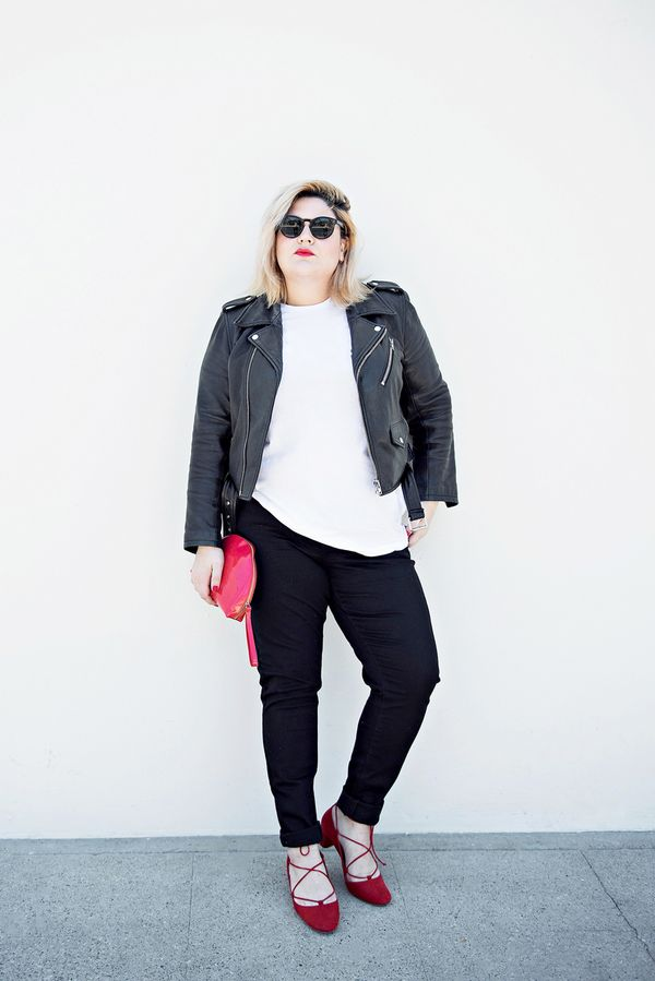 Moto jacket + black jeans + red flats