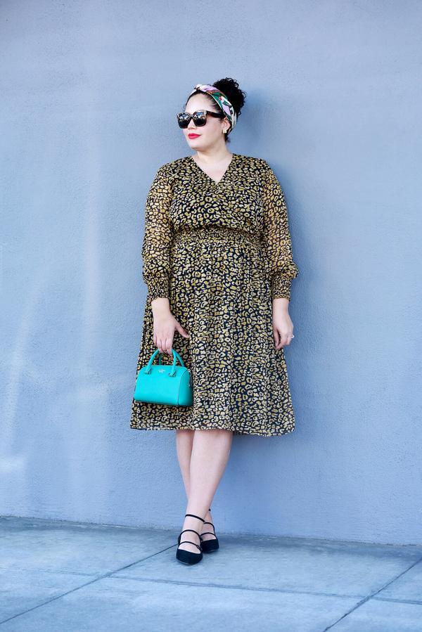 Printed dress + Mary Janes + mini bag