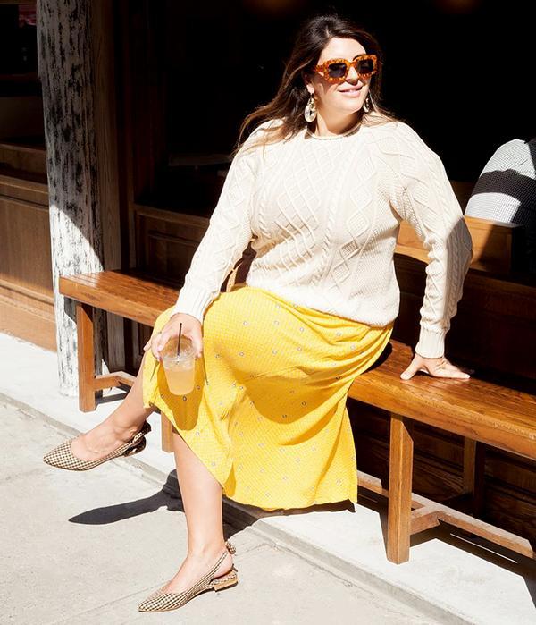 Flowy dress + cable-knit sweater + slingback flats