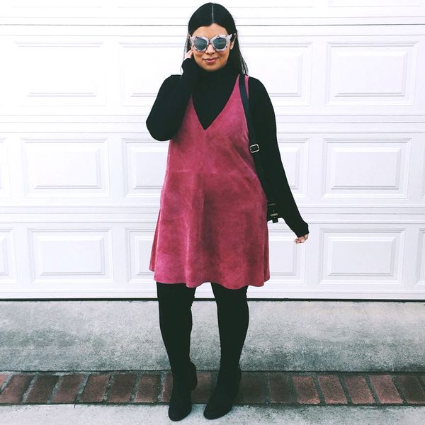 Suede dress + turtleneck + over-the-knee boots