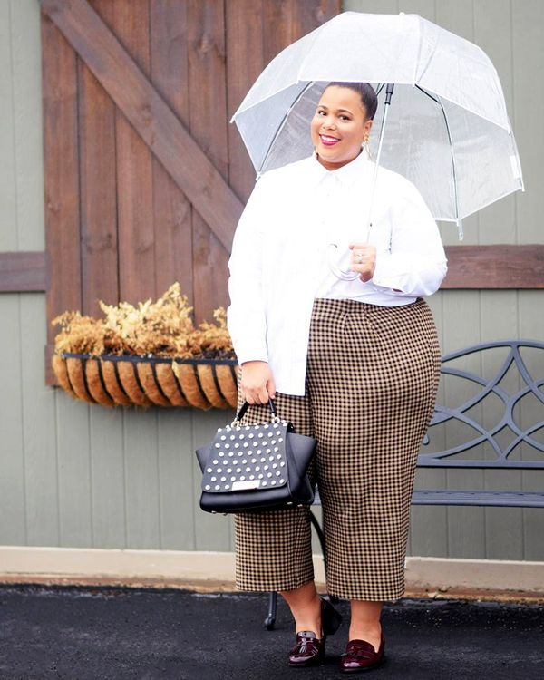 White button-down + plaid pants + patent loafers