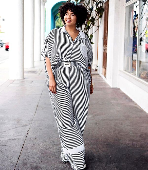 Matching striped trouser-and-shirt set