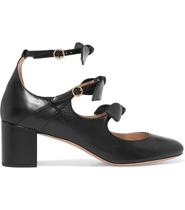 Mike Bow-embellished Leather Mary Jane Pumps
