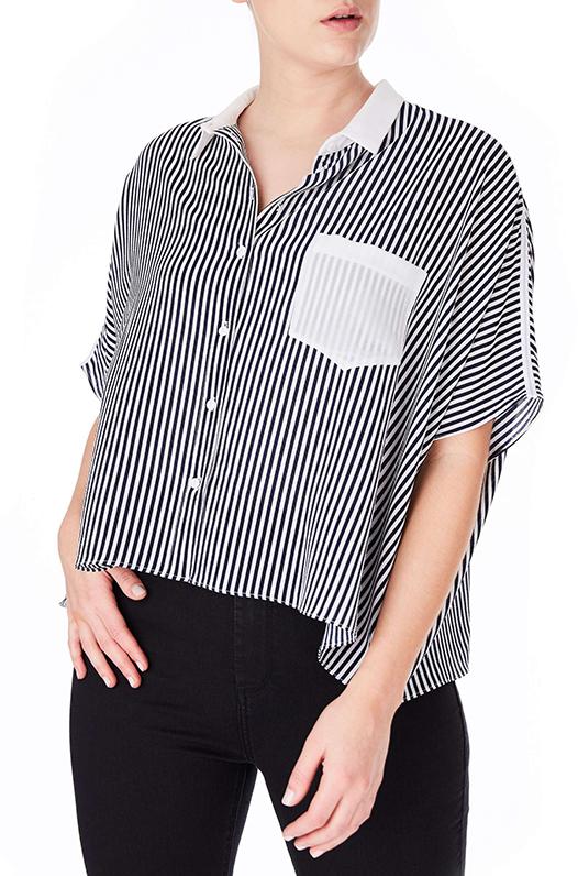 Plus Size Women's Elvi Stripe Boxy Shirt