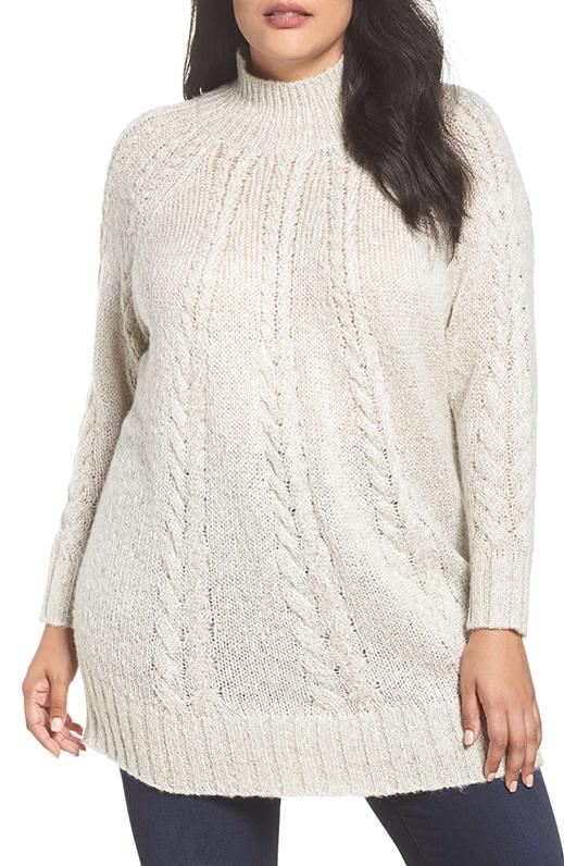 Plus Size Women's Caslon Cable Knit Tunic Sweater