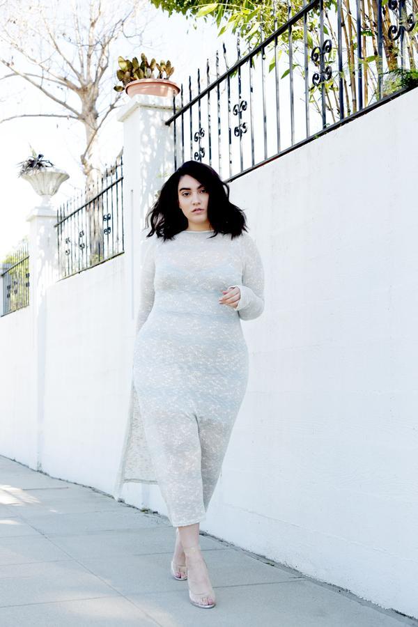 Pastel midi dress + clear block heels