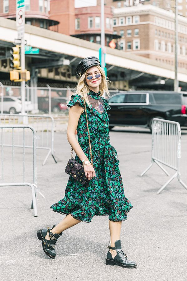 Combat boots and leather accessories ground a pretty floral frock.