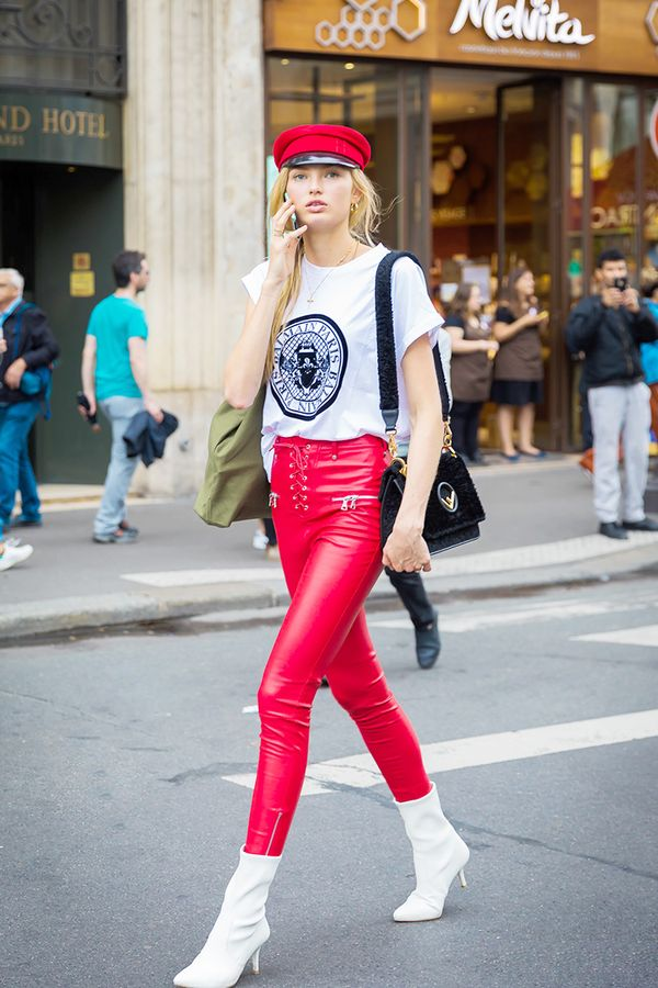 Leather pants and a graphic teemake up the ideal off-duty outfit to wear with booties.