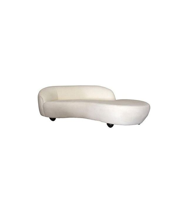 Chairish White Upholstered Curved Chaise Sofa