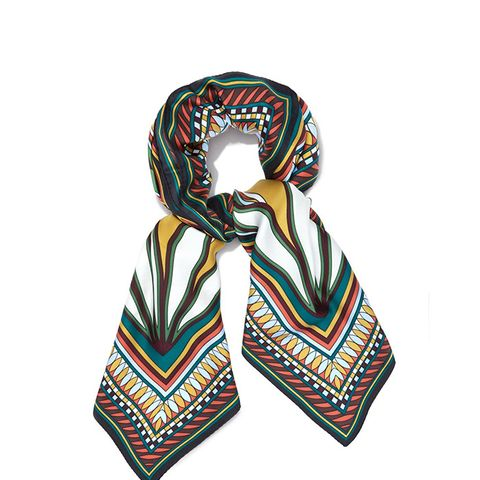 Deco Fan-Print Square scarf