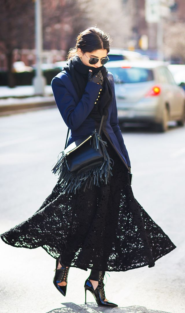 scarf, lace skirt street style