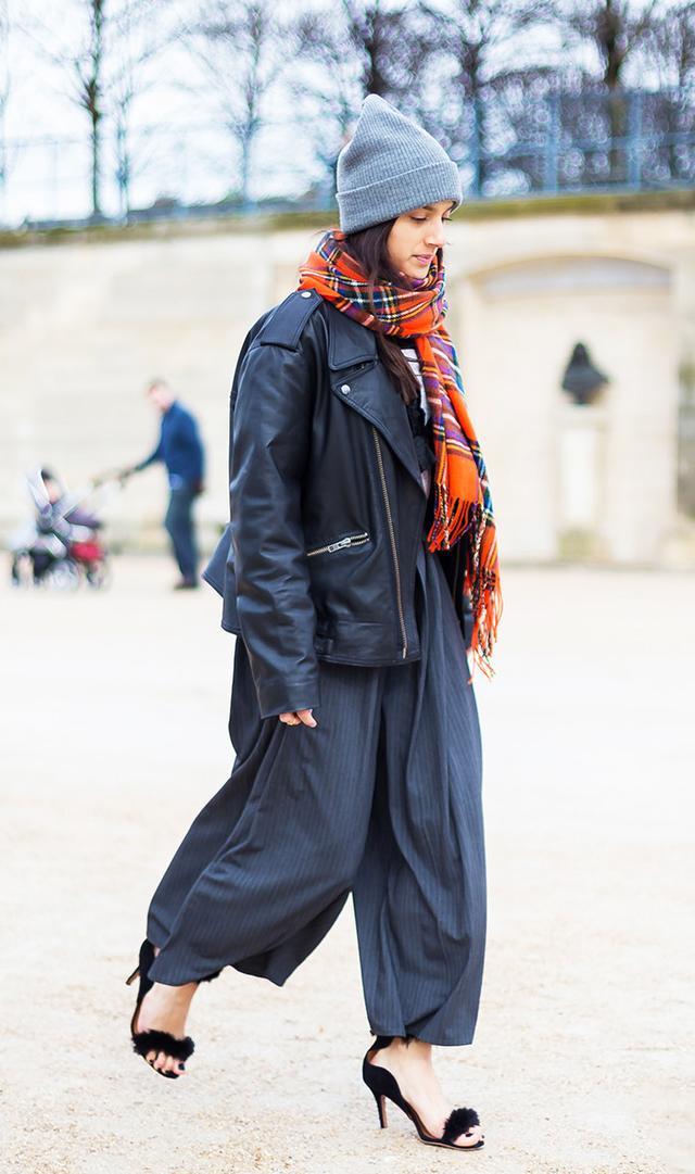 Beanie, plaid scarf, Coat Street Style