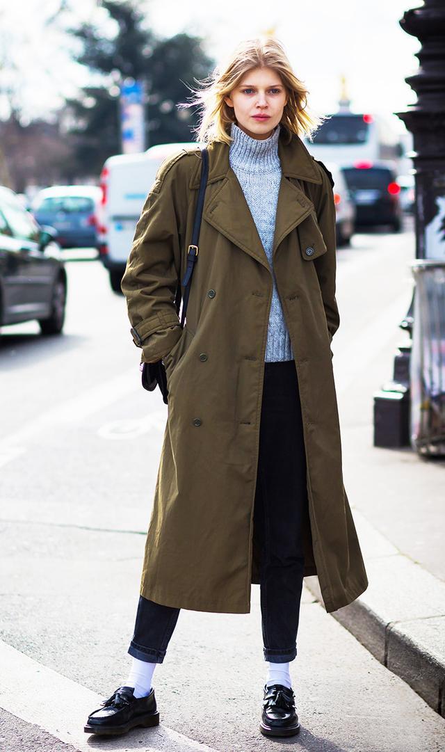 military coat, turtleneck street style