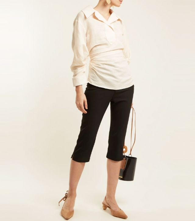 Gathered linen and cotton-blend shirt