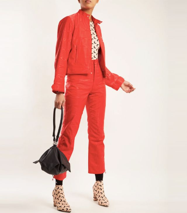 High-rise moire cropped trousers