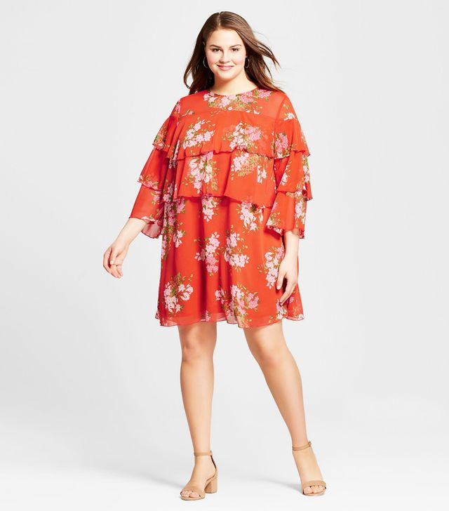 Plus Size Layered Ruffle Mini Dress