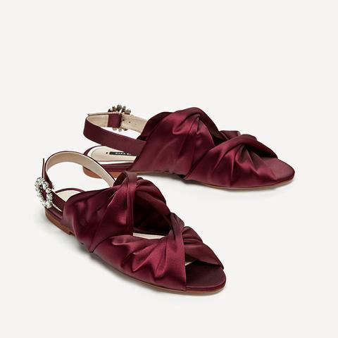 Flat Satin Slingback Sandals