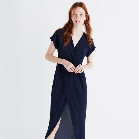 Silk Wrap-Front Maxi Dress