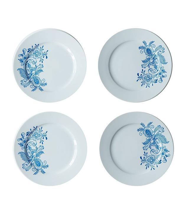 Hanukkah Swedish Blue Rosemaling Dessert Plates