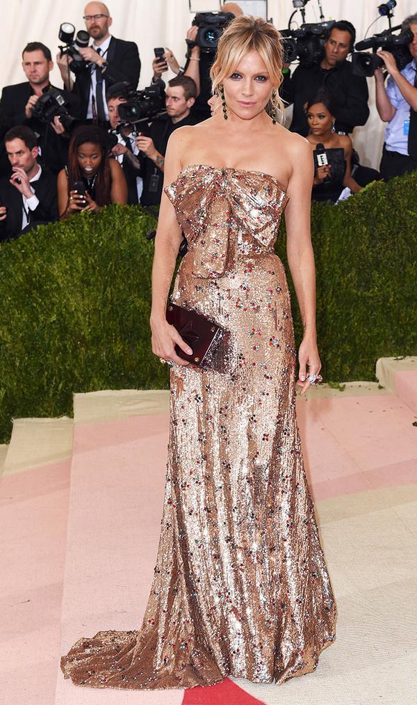 Sienna Miller wearing metallic dress