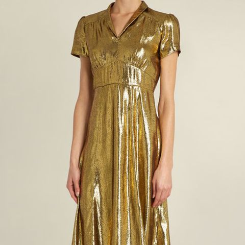 Morgan Short-Sleeve Lamé  Dress