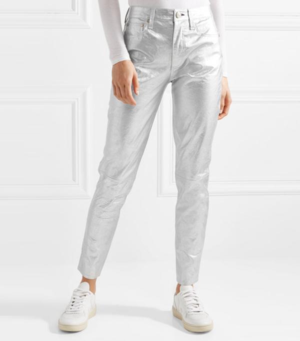 Metallic Leather Skinny Pants