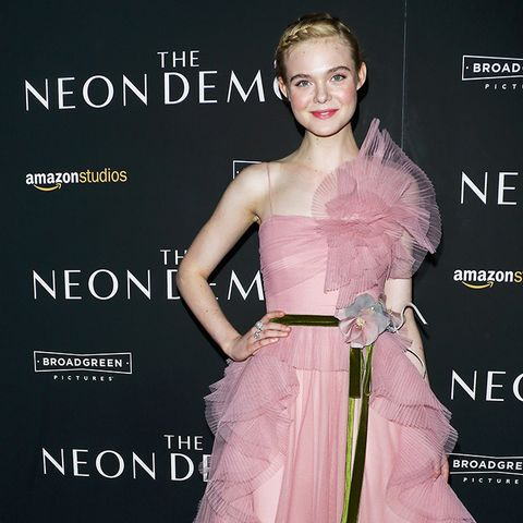 Elle Fanning wearing pink gucci gown