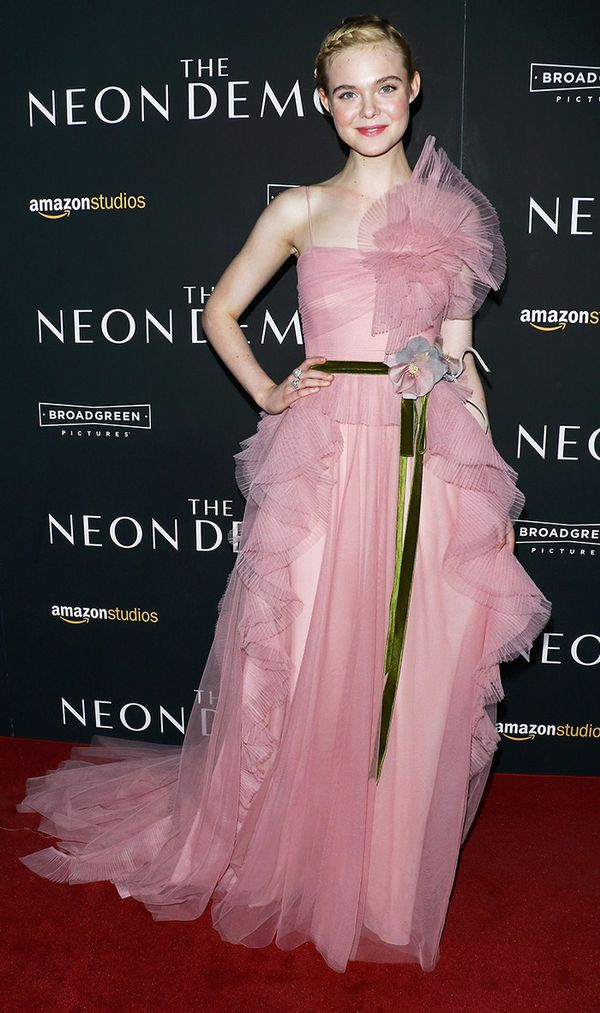 On Elle Fanning:Gucci dress. Pair pale pink with a pop of green to balance out an ultra-feminine look.