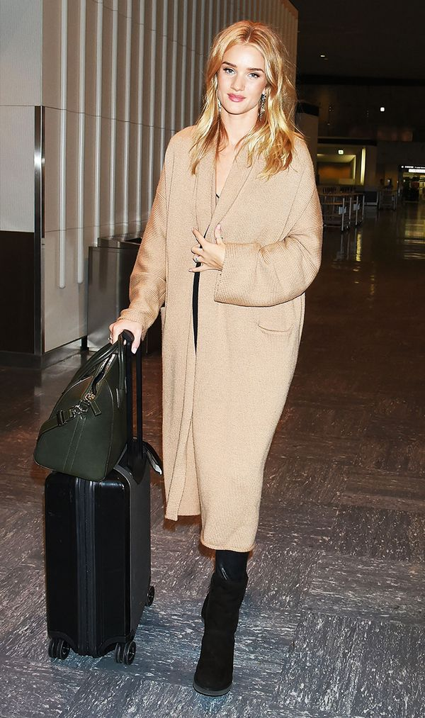 Rosie Huntington Whiteley in camel sweater