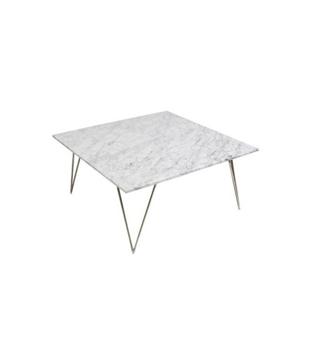 Worlds Away Neal Hairpin Leg Silver Leaf Square Coffee Table