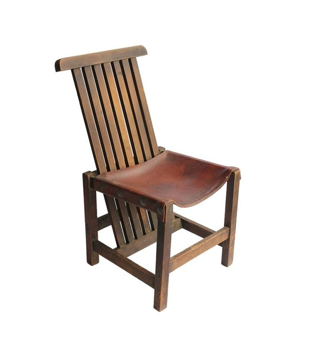 Architectural Anarchy Antique Leather and Oak Accent Chair