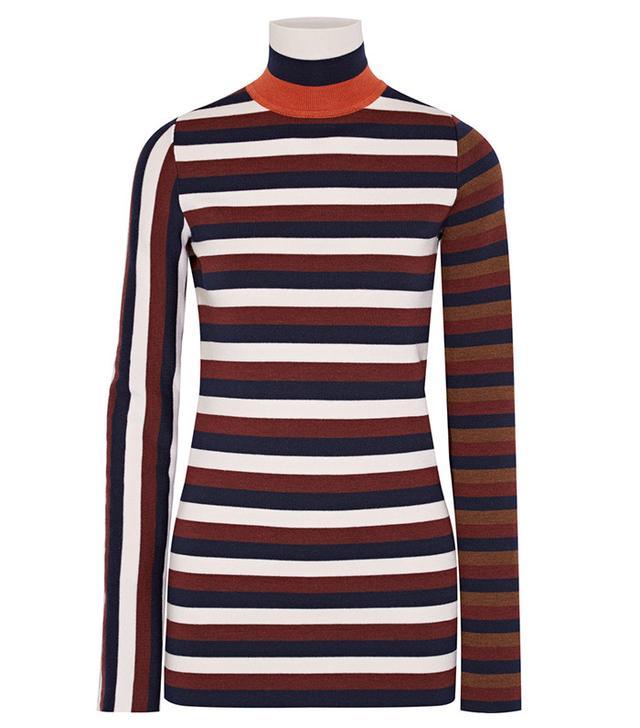 Victoria Beckham Striped Stretch Wool-Blend Turtleneck