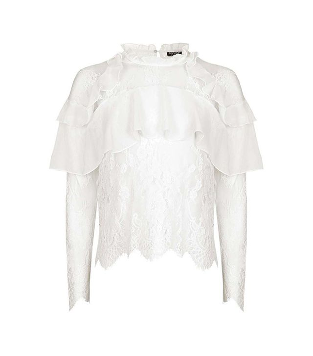 Topshop Lace Frill Long Sleeve Blouse