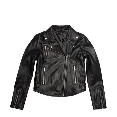 Women Leather Moto Jacket With Silver Hardware