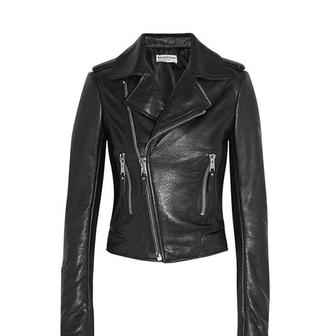 Textured Leather Biker Jacket