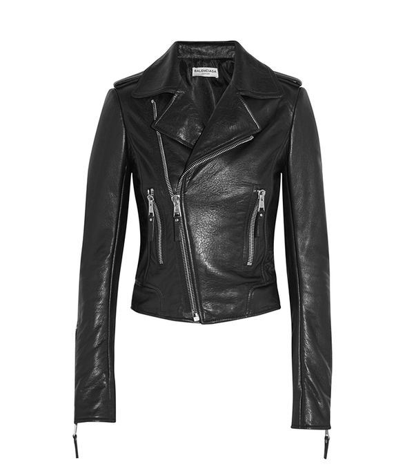 - Balenciaga Textured Leather Biker Jacket