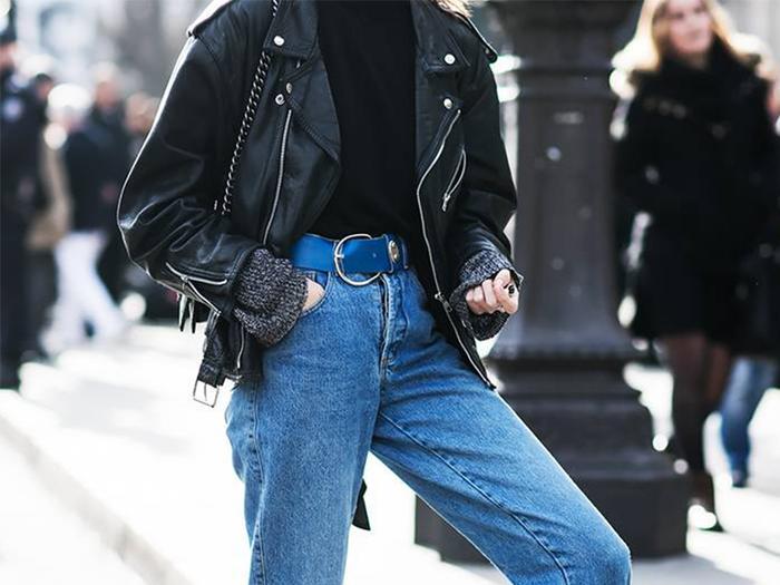 Mens Blue Leather Jacket Biker Classic Motorbike Motorcycle Vintage Perfect Leather Jacket