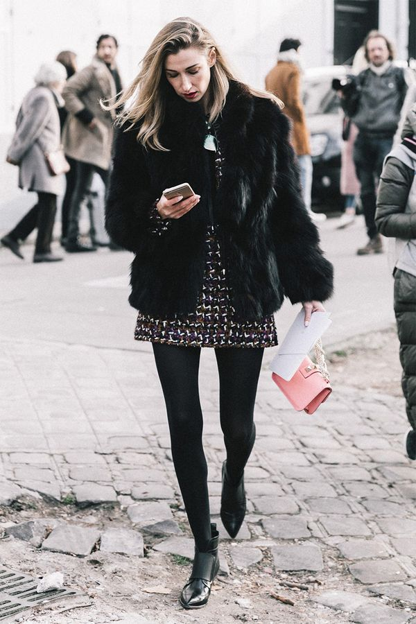 Furry Coat + Patterned Minidress + Tights + Ankle Boots