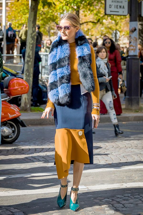 Sweater + High-Waisted Skirt + Colorful Faux-Fur Scarf