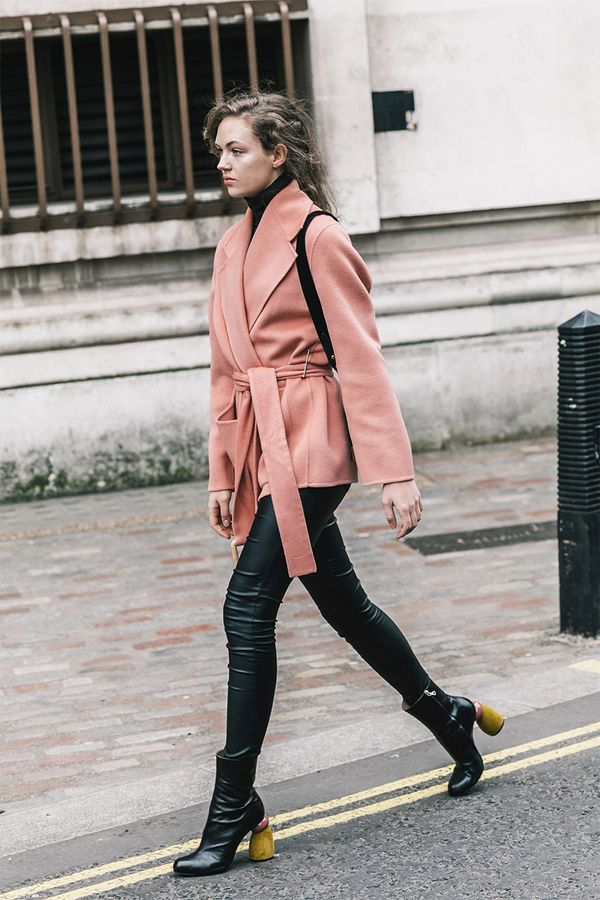 Wrap Coat + Leather Leggings + Ankle Boots