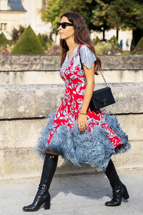 Whimsical Party Dress + Knee-High Boots + Structured Handbag