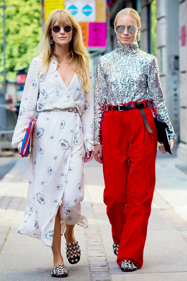 Sequined Top + Bright Trousers + Leather Belt