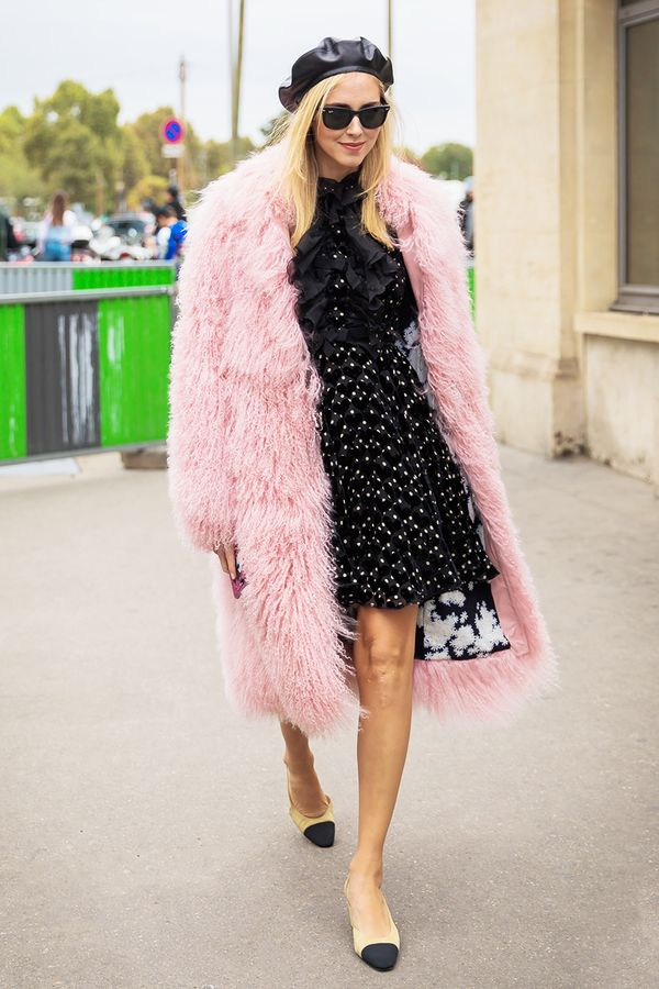 Feminine Coat + Leather Beret + Printed Minidress