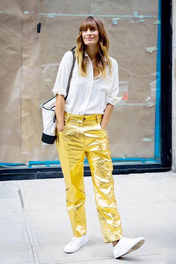 Metallic Pants + White Button-Down Shirt + Clean Sneakers