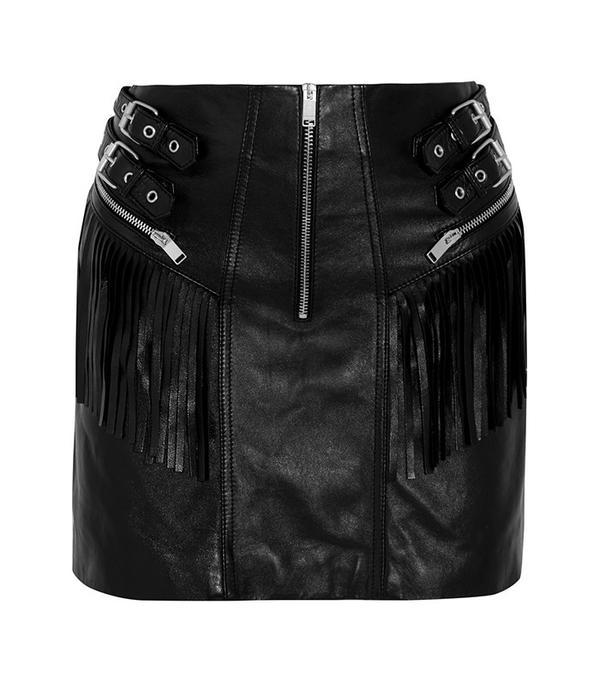Saint Laurent Fringed Leather Mini Skirt