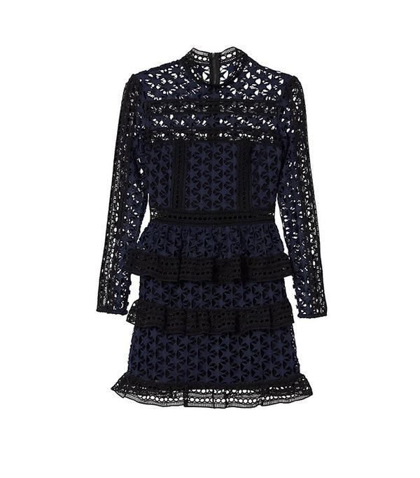 Self-Portrait Star Lace Ruffled Dress
